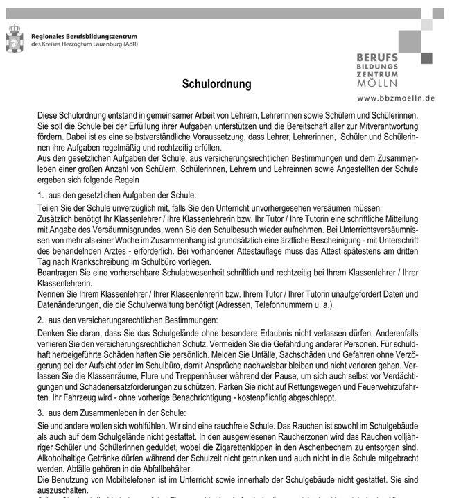 BBZ Moelln - Schulordnung