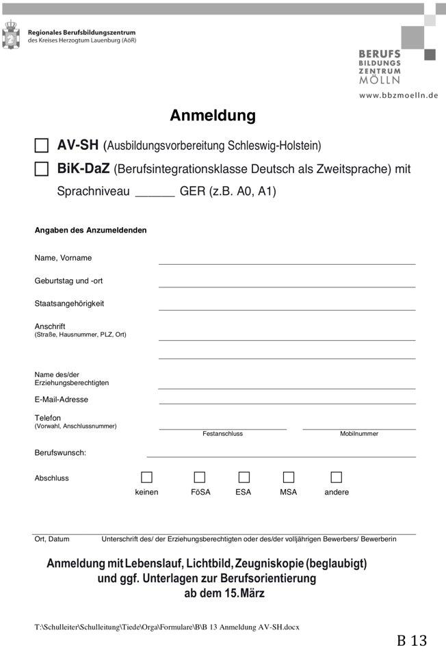 Anmeldebogen AV-SH