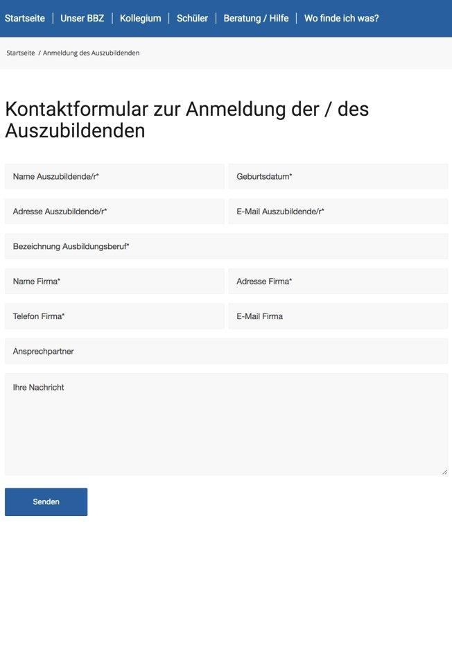 Kontaktformular Anmeldung